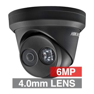 "HIKVISION, 6MP HD-IP Outdoor Turret camera, Black, 4.0mm fixed lens, 30m IR, WDR, Day/Night (ICR), 1/2.9"" CMOS, H.265/H.265+, IP67, Tri-axis, 12V DC/PoE"
