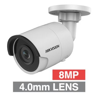 """HIKVISION, 8MP HD-IP Outdoor Mini Bullet camera, White, 4.0mm fixed lens, 30m IR, WDR, Day/Night (ICR), 1/2.5"""" CMOS, H.265/H.265+, IP67, 12V DC/PoE"""