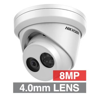 "HIKVISION, 8MP HD-IP Outdoor Turret camera, White, 4.0mm fixed lens, 30m IR, WDR, Day/Night (ICR), 1/2.5"" CMOS, H.265/H.265+, IP67, Tri-axis, 12V DC/PoE"