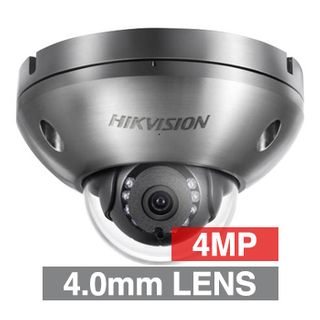 "HIKVISION, 4MP HD-IP Outdoor Anti-Corrosion Dome camera, Stainless steel, 4.0mm fixed lens, 10m IR, WDR, Day/Night (ICR), 1/3"" CMOS, H.265/H.264, IP67, Tri-axis, 5V DC/PoE,"