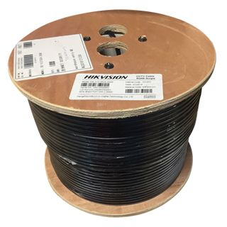 HIKVISION, Composite RG59B/U 75 Ohm coaxial cable with integral 7*0.385 figure 8, OFC conductors, 95% braid coverage, 200m roll,