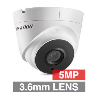HIKVISION, 5MP Analogue HD Outdoor Turret camera, White, 3.6mm fixed lens, 20m IR, TVI/AHD/CVI/CVBS, DWDR, Day/Night (ICR), IP67, Tri-axis, 12V DC