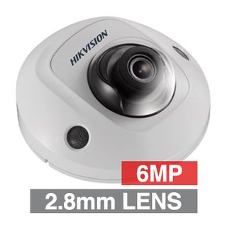 "HIKVISION, 6MP HD-IP Outdoor Mini Dome camera, White, 2.8mm fixed lens, 10m IR, WDR, Day/Night (ICR), 1/2.9"" CMOS, H.265/H.265+, IP66, IK08, 12V DC/PoE"