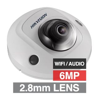 """HIKVISION, 6MP HD-IP WIFI Outdoor Mini Dome camera, White, 2.8mm fixed lens, 10m IR, WDR, Day/Night (ICR), 1/2.9"""" CMOS, H.265/H.265+, IP67, IK08, Tri-axis, Audio, 12V DC/PoE"""