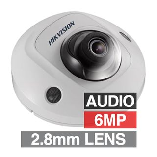 """HIKVISION, 6MP HD-IP Outdoor Mini Dome camera, White, 2.8mm fixed lens, 10m IR, WDR, Day/Night (ICR), 1/2.9"""" CMOS, H.265/H.265+, IP66, IK08, Tri-axis, Audio, 12V DC/PoE"""