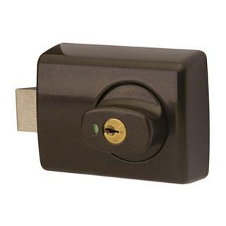 LOCKWOOD, 001 Dead latch, Brown, Surface mount, For inward opening doors,
