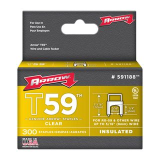 """ARROW, Staples, T59, Insulated, 1/4"""" 6mm(H) x 8mm(W), Clear, Pkt 300,"""