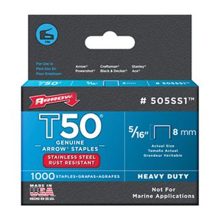"""ARROW, Staples, T50, 5/16"""" (8mm), Stainless Steel, Pkt 1000,"""