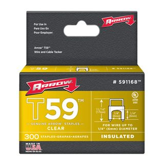 """ARROW, Staples, T59, Insulated, 1/4"""" 6mm(H) x 6mm(W), Clear, Pkt 300,"""