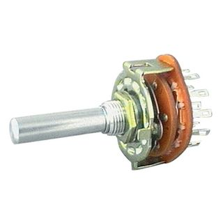 NETDIGITAL, Rotary switch, 2 pole, 6 position, Shaft diameter 6.35mm, shaft length 30mm, Round shaft, Contacts rated at 125V AC/DC @ 350mA,