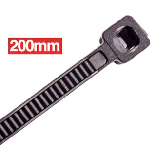 CABAC, Cable ties, 200mm x 2.5mm, Black, Light duty, Packet of 100,