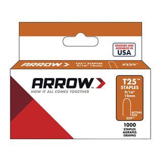 "ARROW, Staples, T25, 9/16"" (14mm), Pkt 1000,"