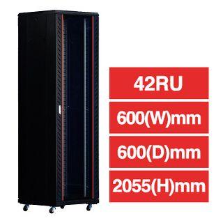 "PSS, 42RU 19"" Rack Cabinet, Floor mount, 600 (w) x 600 (d) x 2055mm (h), With detachable castors & stablizers, Dark grey, comes with 3 shelves,"