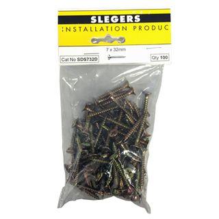 SLEGERS, Screws, Bugle head, Needle point, 7 gauge x 32mm length, Packet of 50,