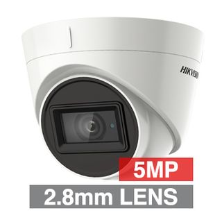 HIKVISION, 5MP Turbo HD Ultra low light Outdoor Turret camera, White, 2.8mm fixed lens, 60m IR, TVI/AHD/CVI/CVBS, 130dB WDR, Day/Night (ICR), IP67, Tri-axis, 12V DC