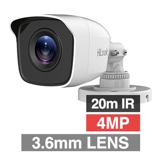 HILOOK, 4MP Analogue HD Outdoor Mini Bullet camera, White, 3.6mm fixed lens, 20m IR, TVI/AHD/CVI/CVBS, DWDR, Day/Night (ICR), IP66, Tri-axis, 12V DC, 4W