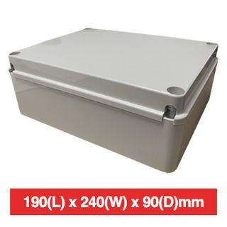 NETDIGITAL, Plastic Enclosure, Grey, 190(L)  x 240(W) x 90(D) (internal measurements) IP56, Screw down lid,