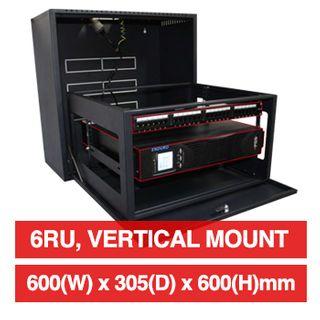 "PSS, 6RU 19"" Rack Cabinet, Vertical wall mount, 600(W) x 600(H) x 305(D)mm, Dark grey powder coated finish, 40kg load capacity"