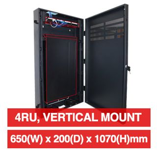"""PSS, 4RU 19"""" Rack Cabinet, Vertical wall mount, 650(W) x 1070(H) x 200(D)mm, With vented front metal door,  Dark grey powder coated finish, 40kg load capacity"""
