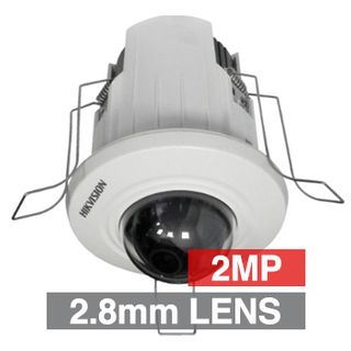 "HIKVISION, 2MP HD-IP Indoor Mini Dome camera, Recessed, White or Black, 2.8mm fixed lens, DWDR, Day/Night (ICR), 1/3"" CMOS, H.264, 12V DC/PoE"
