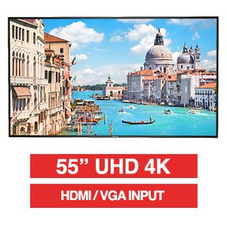 "HIKVISION, 55"" D-LED 16:9 Colour Monitor (Black), UHD 4K 3840x2160 resolution, 8ms response, 1200:1 contrast ratio, HDMI/VGA, LAN port, RS-232, Built-in speaker, 400x200 VESA mount only,"