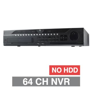 HIKVISION, HD-IP NVR, 64 channel, 320Mbps bandwidth, up to 8 SATA HDD, (8x 10TB max), RAID, VMD, USB/Network backup, Ethernet, 2x USB2.0 & 1x USB3.0, 1 Audio In/Out, 2x HDMI/1x VGA