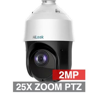 "HILOOK, HD-IP Outdoor PTZ camera, 100m IR, 25x Zoom (4.8 - 120mm lens), 2.0MP/Full HD 1080p, 1/2.8"" CMOS, 0.005Lux (sens-up), H.265/H.265+, IP66, 12V DC/POE+"