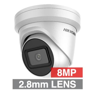 "HIKVISION, 8MP HD-IP Outdoor Turret camera, White, DarkFighter, 2.8mm fixed lens, 30m IR, 120 dB WDR, Day/Night (ICR), 1/2.5"" CMOS, H.265/H.265+, IP67, Tri-axis, 12V DC/PoE"
