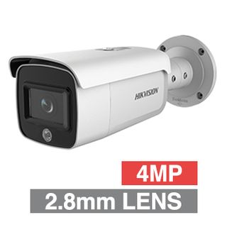 "HIKVISION, 4MP AcuSense HD-IP Outdoor Bullet camera, White, 2.8mm fixed lens, 80m IR, 120dB WDR, Day/Night (ICR), 1/2.7"" CMOS, H.265 & H.265+, IP67, 12V DC/PoE"