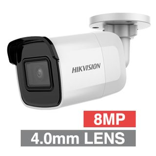 "HIKVISION, 8MP HD-IP Outdoor Mini Bullet camera, White, 4.0mm fixed lens, 30m IR, WDR, Day/Night (ICR), 1/2.5"" CMOS, H.265/H.265+, IP67, 12V DC/PoE"