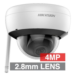 "HIKVISION, 4MP HD-IP Outdoor WiFi Dome camera, White, 2.8mm fixed lens, 30m IR, DWDR, Day/Night (ICR), 1/3"" CMOS, H.265/H.265+, IP66, WiFi, 12V DC/PoE"