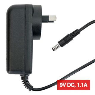 POWERMASTER, 12J Series, Switch mode power supply, Plug pack, 9V DC, 1.1 amp, Regulated, 2.1mm DC plug, Centre positive,