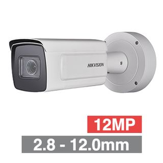 "HIKVISION, 12MP HD-IPBullet camera, White, 2.8-12.0mm zoom lens, 50m IR, 20fps, DWDR, Day/Night (ICR), 1/1.7"" CMOS, H.265/H.265+, Audio, IP67, IK10,  12V DC/PoE"