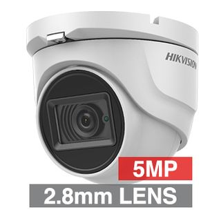 HIKVISION, 5MP Turbo HD Ultra low light Outdoor Turret camera, White, 2.8mm fixed lens, 30m IR, TVI/AHD/CVI/CVBS, 130dB WDR, Day/Night (ICR), IP67, Tri-axis, 12V DC