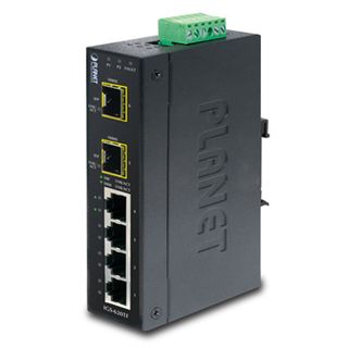 PLANET, 4 Port 10/100/1000T + 2 port 100/1000X SFP, Gigabit data switch, IP30 Industrial, Din mountable,