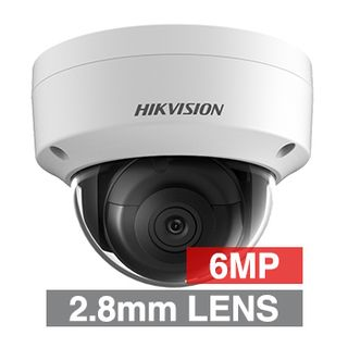 "HIKVISION, 6MP HD-IP Outdoor Vandal Dome camera, White, 2.8mm fixed lens, 30m IR, 120dB WDR, Day/Night (ICR), 1/2.4"" CMOS, H.265/H.265+, IP67, IK10, Tri-axis, 12V DC/PoE"