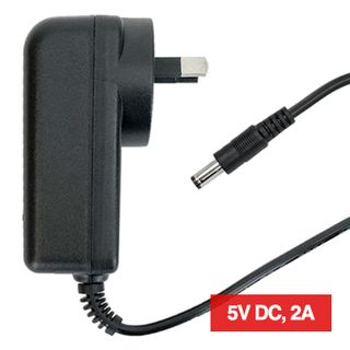 POWERMASTER, 12J Series, Switch mode power supply, Plug pack, 5V DC, 2 amp, Regulated, 2.1mm DC plug, Centre positive,