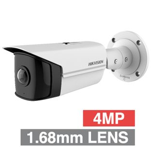 "HIKVISION, 4MP Ultra Wide HD-IP bullet camera, White, 1.68mm fixed lens, 10m IR, 170 Degree view, Day/Night (ICR), 1/2.7"" CMOS, H.265/H.265+, Tri-axis, IP67, 12V DC/PoE"