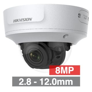 """HIKVISION, 8MP HD-IP Outdoor Vandal Dome camera, White, 2.8-12.0mm motorised zoom lens, 30m IR, WDR, Day/Night (ICR), 1/2.5"""" CMOS, H.265/H.265+, IP67, IK10, Tri-axis, 12V DC/PoE"""