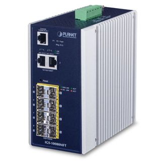 PLANET, 8 Port Managed Industrial switch, 100/1000F SFP, + 2 10/100/1000T Managed Ethernet switch,