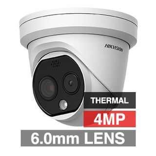 """HIKVISION, 4MP Fusion Indoor Thermal turret camera, White, 6mm lens (thermal), 4mm lens (optical), 160x120 Thermal, 15m IR, 120dB WDR, Day/Night (ICR), 1/2.7"""" CMOS, H.265 & H.265+, IP66, 12V DC/PoE"""