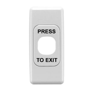 CLIPSAL, 2000 Series, Architrave switch plate, Labelled 'Press to Exit', Single gang, White,