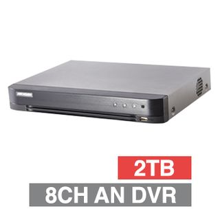 HIKVISION, Analogue Turbo HD DVR, 8 ch, H265, 4CH IP support, 1x 2TB SATA HDD (1x 6TB max), VMD, USB/Network backup, Ethernet, 1x USB2.0, 1x USB3.0, 4 Audio In/1 Out, HDMI/VGA/BNC outputs