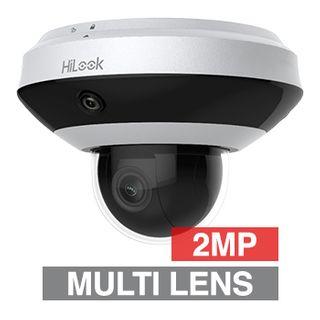 "HILOOK, HD-IP PTZ Dome camera with PanoVu, 4x Zoom (2.8 - 12mm lens), 2.0MP/Full HD 1080p, 1/2.8"" CMOS, 0.005Lux (sens-up), H.265/H.265+, IP66, IK10, 12V DC/POE,"