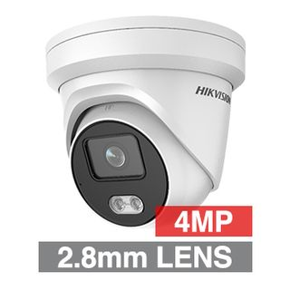 "HIKVISION, 4MP ColorVu HD-IP Outdoor Turret camera, White, 2.8mm fixed lens, F1.0, 30m White LED, WDR, Day/Night (ICR), 1/1.8"" CMOS, H.265/H.265+, IP66, Tri-axis, Built-in microphone, 12V DC/PoE"