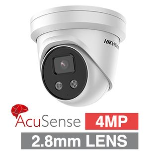 "HIKVISION, 4MP AcuSense HD-IP Outdoor Turret camera, DarkFighter, White, 2.8mm fixed lens, 50m IR, WDR, Day/Night (ICR), 1/2.7"" CMOS, H.265/H.265+, IP67, Tri-axis, Built-in speaker (96dB), 12V DC/PoE"