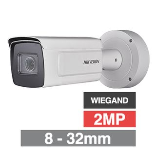 "HIKVISION, 2MP ANPR Bullet camera, White, 8-32mm zoom lens, 100m IR, 50fps, 120dB WDR, Day/Night (ICR), 1/1.8"" CMOS, H.264, IP67, 12V DC/PoE, Wiegand,"
