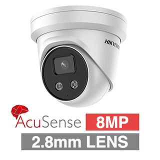 "HIKVISION, 8MP AcuSense HD-IP Outdoor Turret camera, DarkFighter, White, 2.8mm fixed lens, 30m IR, 120dB WDR, Day/Night (ICR), 1/1.8"" CMOS, H.265/H.265+, IP66, Tri-axis, 12V DC/PoE"