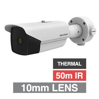 HIKVISION, Thermal Perimeter bullet camera, White, 10mm fixed lens, 384x288 Thermal sensor, 50m IR, Shutter adjustment,  H.264 & H.264+, IP66, 12V DC/PoE+,