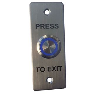 """ULTRA ACCESS, Switch plate, Wall, Architrave, Stainless steel, Labelled """"Press to Exit"""", With stainless steel illuminated blue 22mm push button, Plate 35mm x 90mm, N/O,N/C contacts, 12V DC,"""